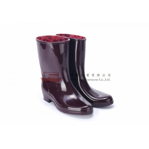 HLB3100日本製女仕勞工短水靴(棗紅)